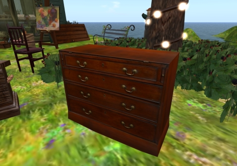 18th Century Mahogany Bureau - 2 Prims (copy/mod)